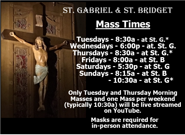 Mass Times Live Stream Info as of 081120