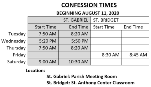 Confession Times starting 081120