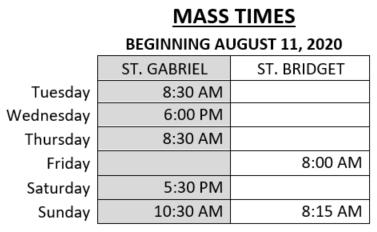 Mass Times starting 081120
