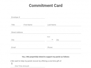 Commitment card closeup